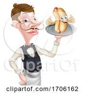Cartoon Hotdog Mascot Waiter