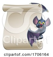 Halloween Vampire Bat Cartoon Character Scroll