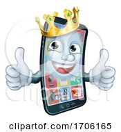 Mobile Phone King Crown Thumbs Up Cartoon Mascot