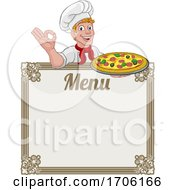 Pizza Chef Cook Cartoon Man Menu Sign Background