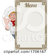 Chef Cook Baker Cartoon Man Menu Sign Background