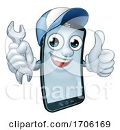 Poster, Art Print Of Mobile Phone Repair Spanner Thumbs Up Mascot