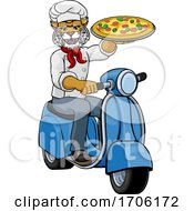 Poster, Art Print Of Wildcat Chef Pizza Restaurant Delivery Scooter