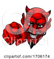 Devil Satan Pointing Finger At You Mascot Cartoon by AtStockIllustration