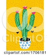 Bright Cactus With Flowers