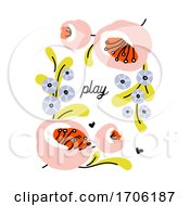 Vector Illustration In Simple Naive Style Of Abstract Floral Design With Cute Flowers