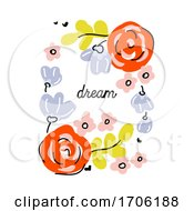 Vector Illustration in Simple Naive Style of Abstract Floral Design with Cute Flowers by elena #COLLC1706188-0147