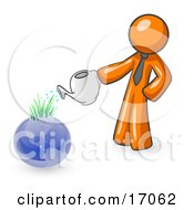 Orange Man Using A Watering Can To Water New Grass Growing On Planet Earth, Symbolizing Someone Caring For The Environment