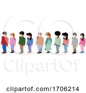 Covid 19 Coronavirus Crowd Wearing Face Masks And Social Distancing