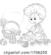 Poster, Art Print Of Boy Painting Easter Eggs