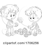 Poster, Art Print Of Children With Easter Eggs