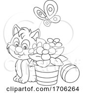 Poster, Art Print Of Kitty Cat By Flowers