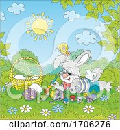 Poster, Art Print Of Bunny Painting Easter Eggs