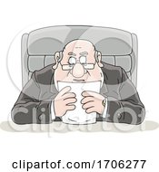 Cartoon Fat Politician Reading A Statement by Alex Bannykh