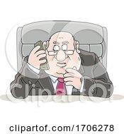 Cartoon Fat Politician Talking On A Cell Phone