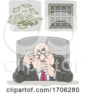 Cartoon Fat Politician Greedily Thinking Of Money by Alex Bannykh