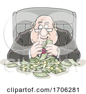 Cartoon Fat Politician Greedily Counting His Money