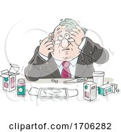 Cartoon Fat Politician With Flu Medication by Alex Bannykh