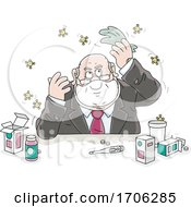 Cartoon Fat Politician With Germs Or Viruses