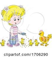 Poster, Art Print Of Girl Feeding Chickens