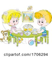 Poster, Art Print Of Children Having A Tea Party