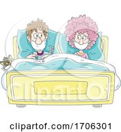 Poster, Art Print Of Covid19 Coronavirus Couple In Bed Wearing Masks