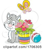 Cat By Flowers