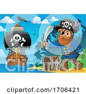 Pirate Captain Holding A Sword On A Beach