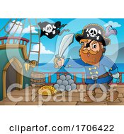 Pirate Captain Holding A Sword On A Ship Deck