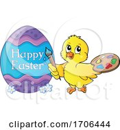 Chick Painting Happy Easter On An Egg