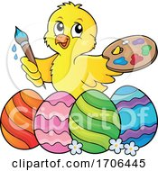 Poster, Art Print Of Easter Chick Painting Eggs