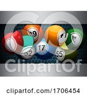 Bingo Lottery Balls On Honeycomb And Brushed Metal Background With Magnifiers
