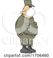Cartoon Army Man Wearing A Covid Face Mask by djart
