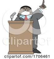 Cartoon Black Politician Wearing A Face Mask And Speaking At A Podium