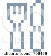 Poster, Art Print Of Knife Fork Cutlery Pixel 8 Bit Video Game Art Icon