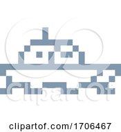 Poster, Art Print Of Boat Ship Pixel 8 Bit Video Game Art Icon