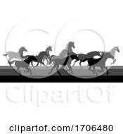 Running Horses Silhouette Herd