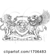 Coat Of Arms Crest Griffin Lion Family Shield Seal