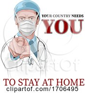 Doctor Wants Needs You Stay Home Pointing Poster