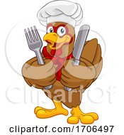 Poster, Art Print Of Chef Chicken Rooster Cockerel Knife Fork Cartoon