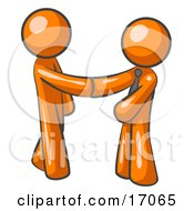 Orange Man Wearing A Tie Shaking Hands With Another Upon Agreement Of A Business Deal Clipart Illustration