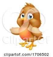 Poster, Art Print Of Robin Christmas Cartoon Baby Bird Pointing