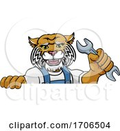 Poster, Art Print Of Wildcat Plumber Or Mechanic Holding Spanner