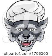 Poster, Art Print Of Wolf Chef Mascot Cartoon Character