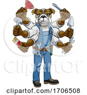 Poster, Art Print Of Bulldog Multitasking Handyman Holding Tools