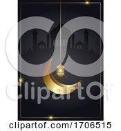 Ramadan Kareem Background With Gold Crescent And Lantern