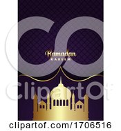 Ramadan Kareem Background With Gold Mosque Silhouettes