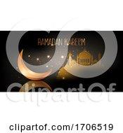 Ramadan Kareem Banner With Crescent And Mosque Design