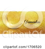 Ramadan Kareem Banner With Gold Crescent