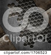 3D Grunge Texture Background With Various Metal Designs